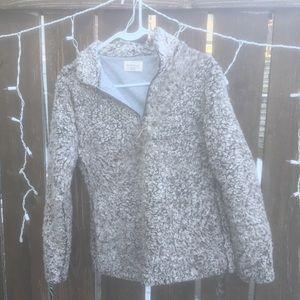 Sherpa fleece pullover grey zip up